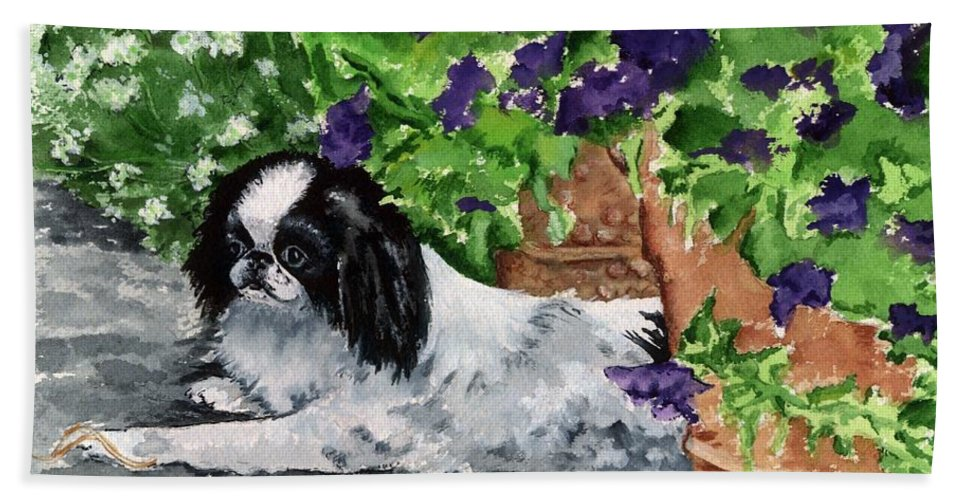 Japanese Chin Bath Sheet featuring the painting Japanese Chin Puppy And Petunias by Kathleen Sepulveda