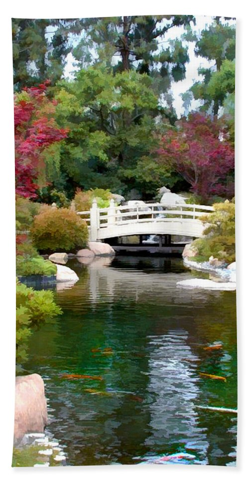 Nature Hand Towel featuring the painting Japanese Garden Bridge And Koi Pond by Elaine Plesser