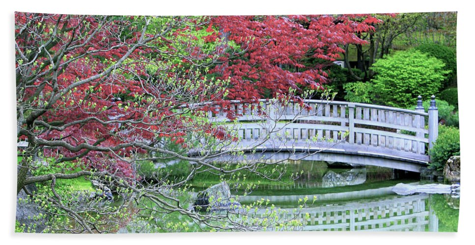 Landscape Hand Towel featuring the photograph Japanese Garden Bridge In Springtime by Carol Groenen