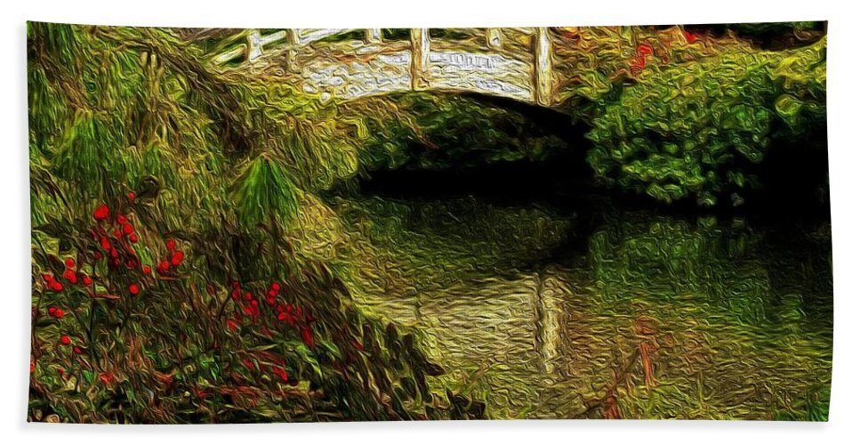 Japanese Garden Hand Towel featuring the painting Japanese Garden by Dennis Nelson