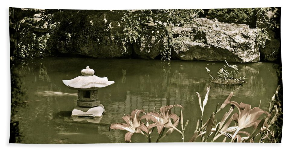 Japanese Bath Sheet featuring the photograph Japanese Garden by Michael Peychich