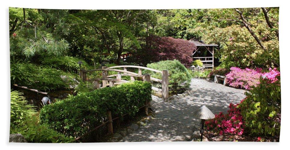 Japanese Garden Bath Sheet featuring the photograph Japanese Garden Path With Azaleas by Carol Groenen