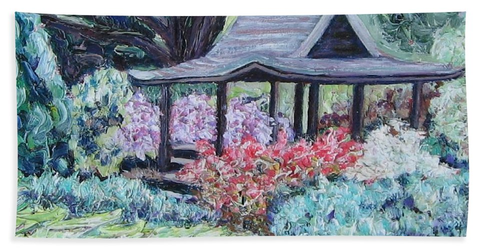 Garden Bath Towel featuring the painting Japanese Garden by Richard Nowak