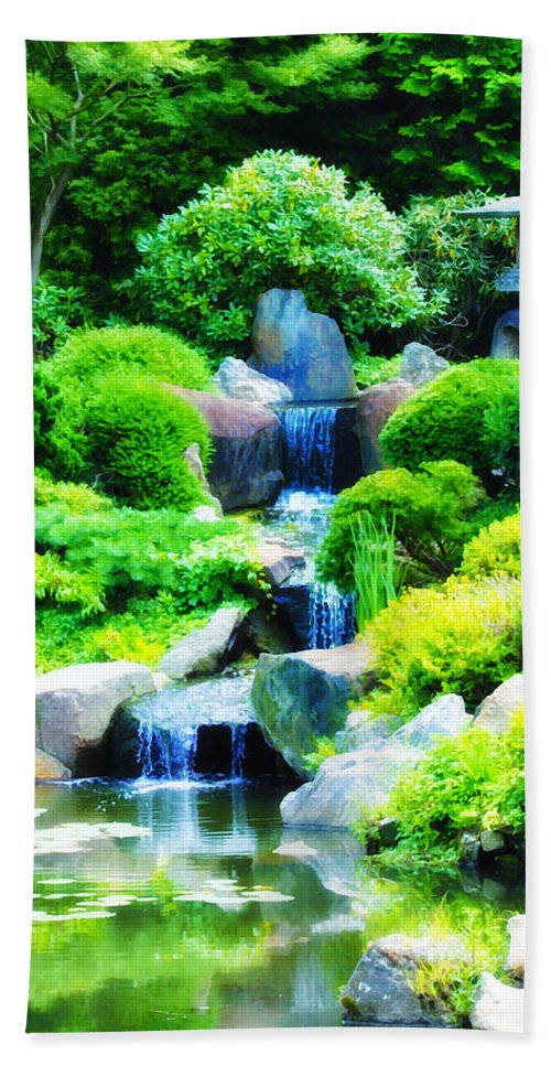 Japanese Hand Towel featuring the photograph Japanese Garden Waterfall by Bill Cannon