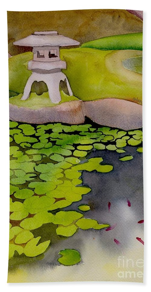 Japanese Hand Towel featuring the painting Japanese Garden by Yolanda Koh