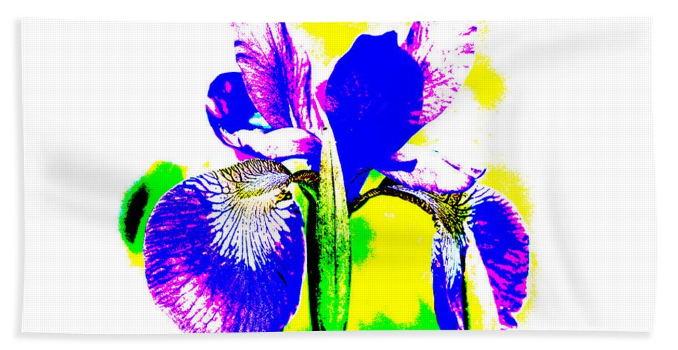 Iris Bath Sheet featuring the photograph Japanese Iris Pop Art Abstract by Mother Nature