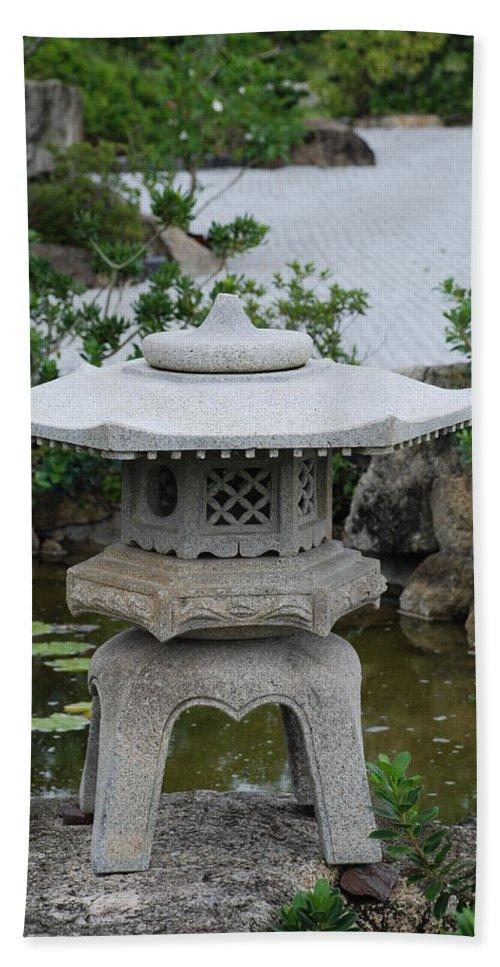 Rocks Bath Sheet featuring the photograph Japanese Lantern by Rob Hans