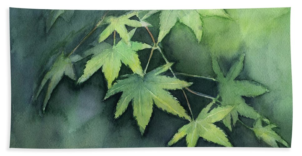 Maple Bath Towel featuring the painting Japanese Maple by Olga Shvartsur