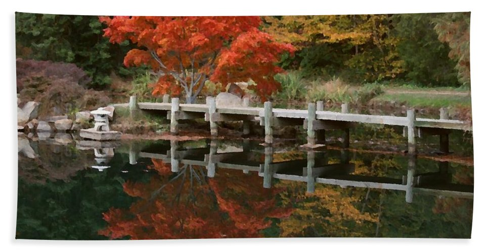 Maymont Bath Towel featuring the photograph Japanese Reflection by Tina Meador