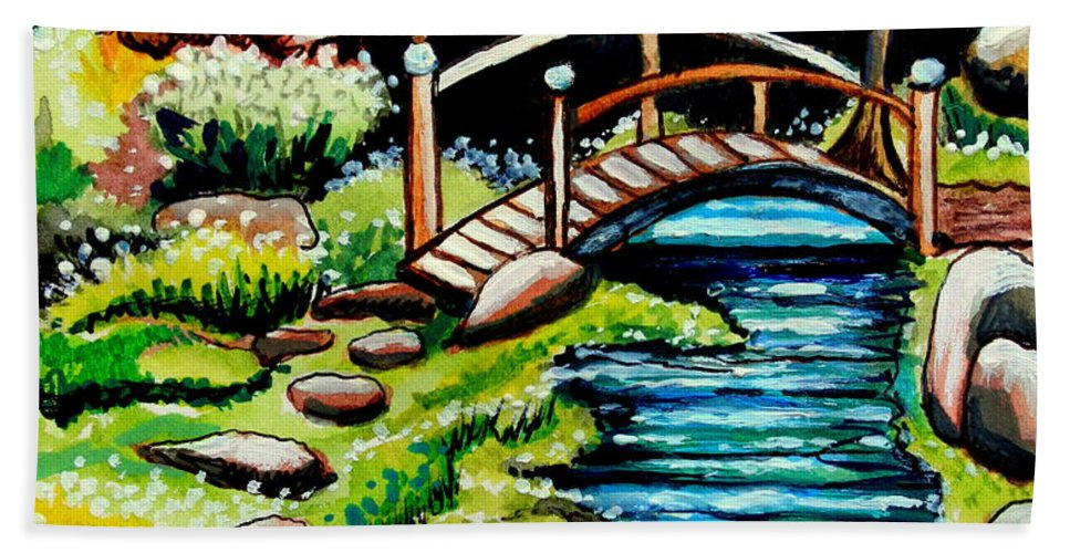 Landcape Bath Sheet featuring the painting Japanese Tea Gardens by Elizabeth Robinette Tyndall