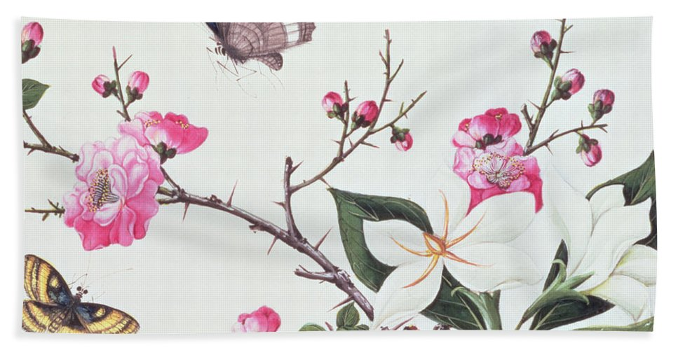 Butterfly Hand Towel featuring the painting Japonica Magnolia And Butterflies by Chinese School