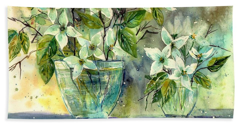 Cosmic Bath Towel featuring the painting Jasmine In Glass by Suzann Sines