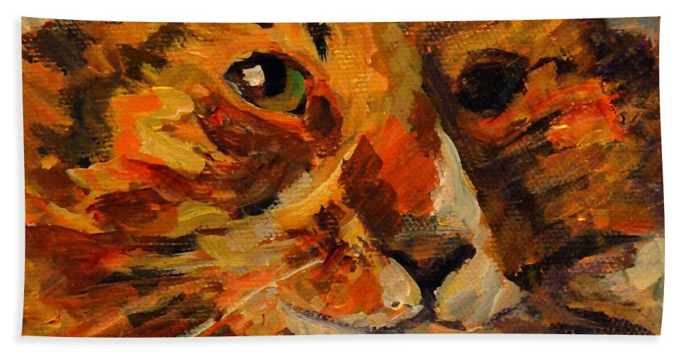 Cat Hand Towel featuring the painting Jasper by Nanci Cook