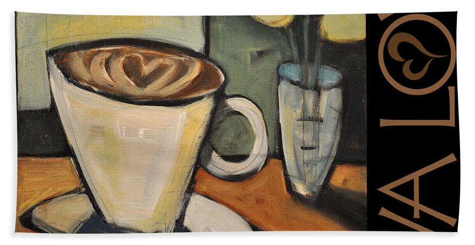 Beverage Bath Sheet featuring the painting Java Love Poster by Tim Nyberg