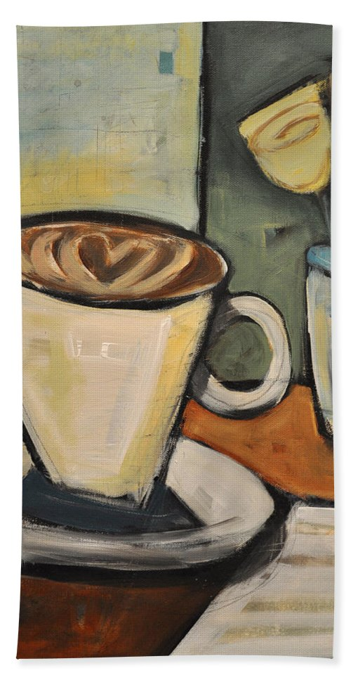 Java Hand Towel featuring the painting Java Love by Tim Nyberg