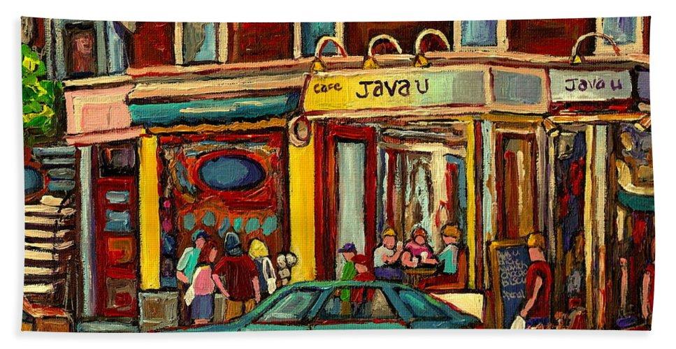 Java U Coffee Shops Bath Towel featuring the painting Java U Coffee Shop Montreal Painting By Streetscene Specialist Artist Carole Spandau by Carole Spandau