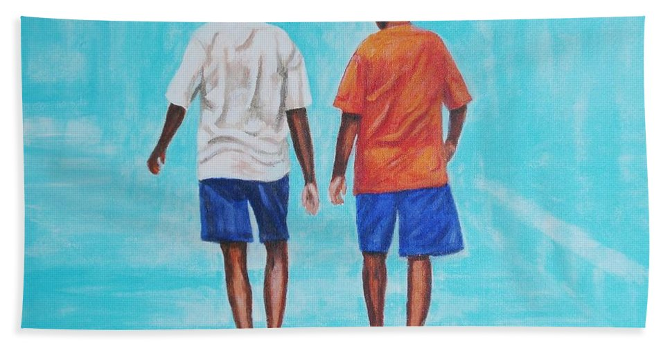 Hand Towel featuring the painting Jay Walkers by Usha Shantharam