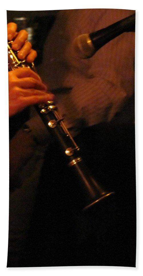 Jazz Hand Towel featuring the photograph Jazz Clarinet Profile by Anita Burgermeister