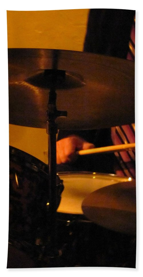 Jazz Hand Towel featuring the photograph Jazz Drums by Anita Burgermeister