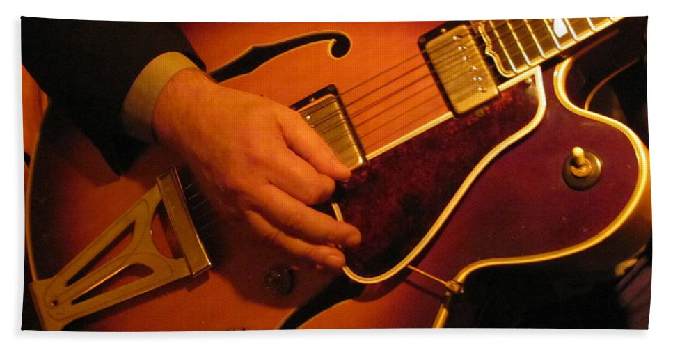 Jazz Hand Towel featuring the photograph Jazz Guitar by Anita Burgermeister