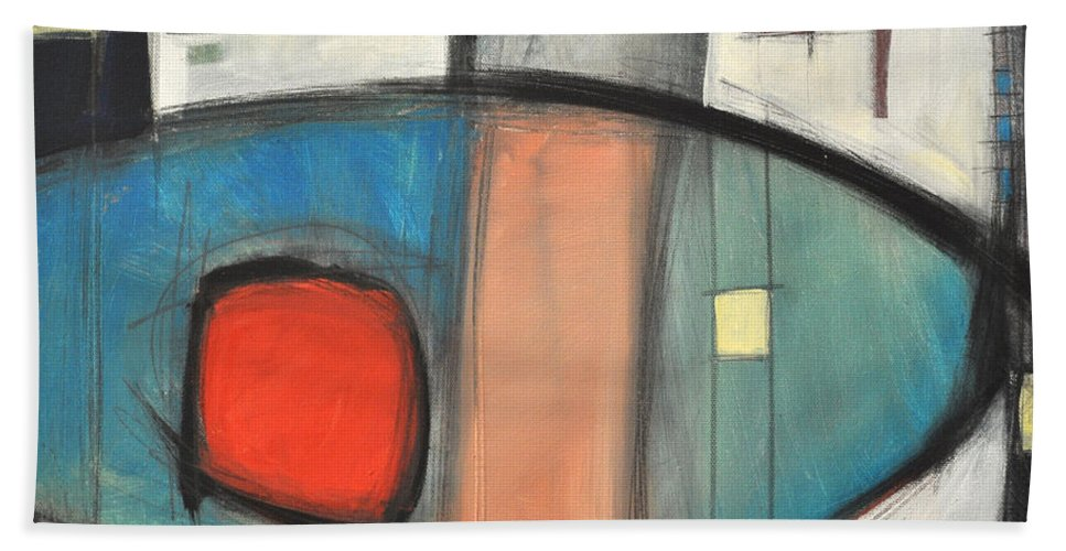 Abstract Bath Sheet featuring the painting Jazz Improv 081510a by Tim Nyberg