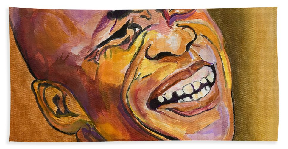 Portraits Bath Sheet featuring the painting Jazz Man by Pat Saunders-White