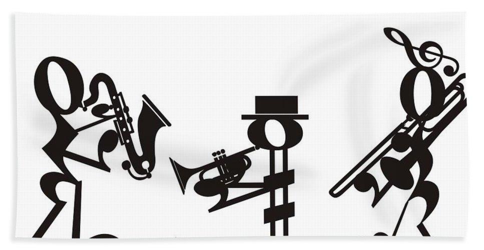 Hand Towel featuring the digital art Jazz by Maria Watt