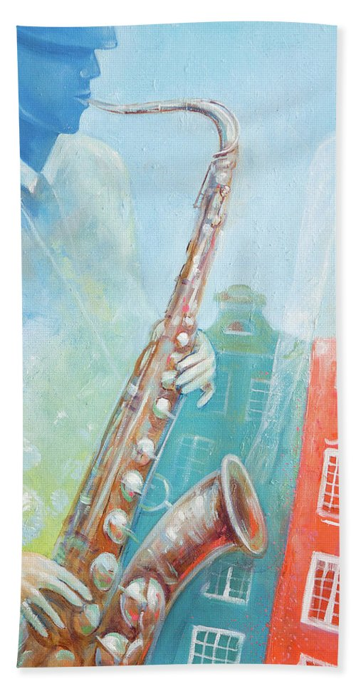 Jazz Hand Towel featuring the painting Jazz. Summer. Gdansk by Olga Yatsenko