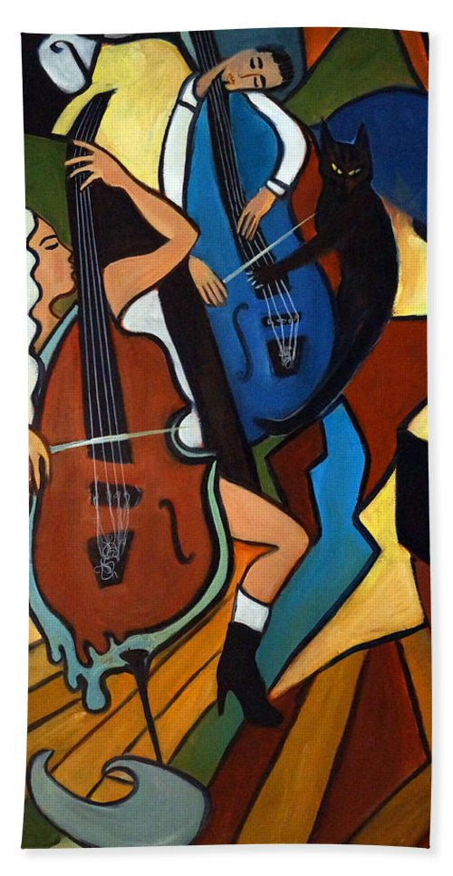 Musicians Hand Towel featuring the painting Jazz Trio by Valerie Vescovi
