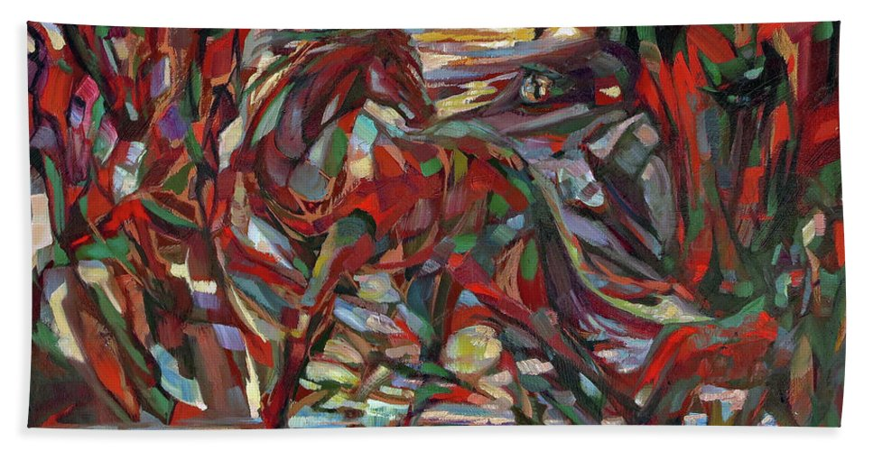 Horse Bath Sheet featuring the painting Jazzponies by Lara Branca