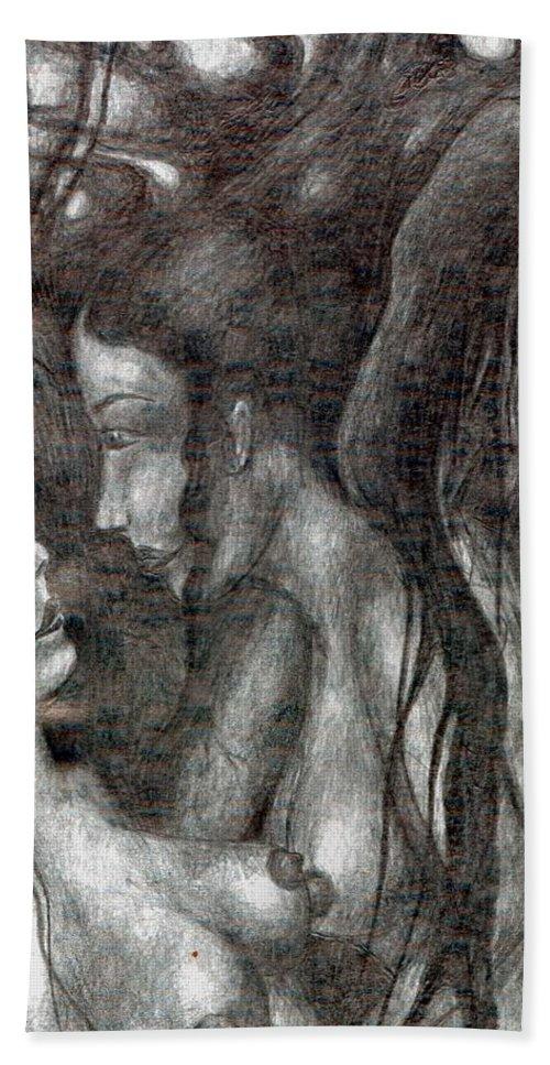 Psychedelic Hand Towel featuring the drawing Jealous Girls by Wojtek Kowalski
