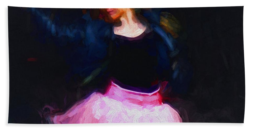 Jean Hand Towel featuring the digital art Jean Jacket Ballerina by Patti Parish