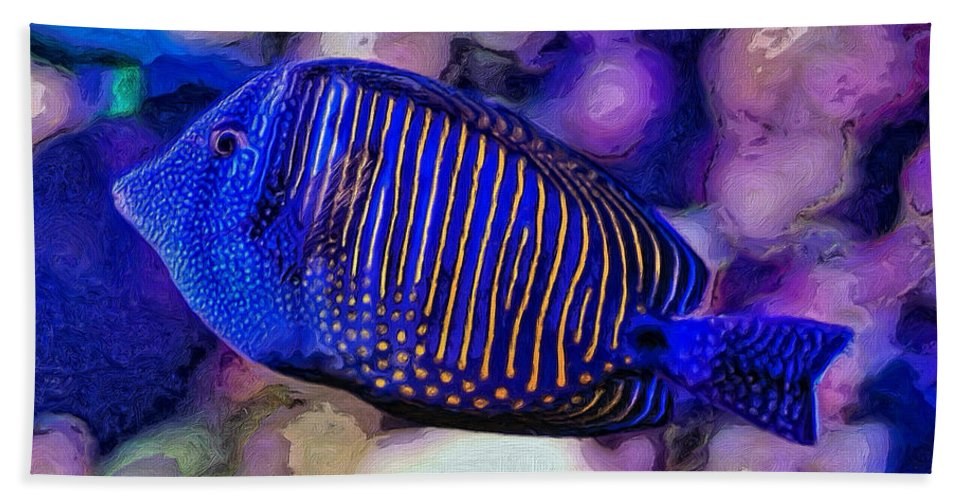 Fish Bath Sheet featuring the painting Jean-marie by Dominic Piperata