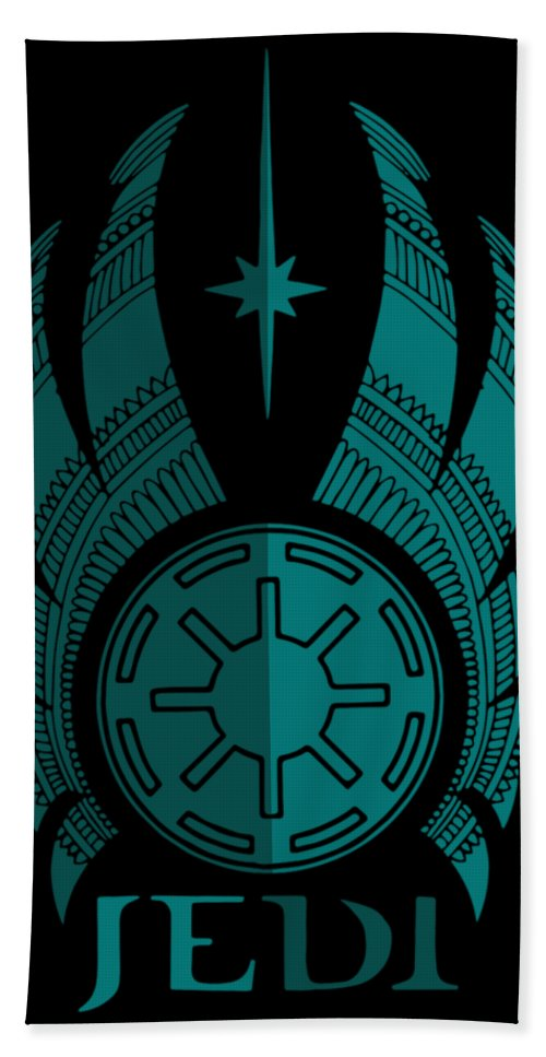 Jedi Bath Towel featuring the mixed media Jedi Symbol - Star Wars Art, Blue by Studio Grafiikka