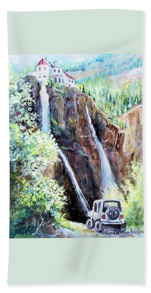 Waterfall Bath Sheet featuring the painting Jeeping At Bridal Falls by Linda Shackelford