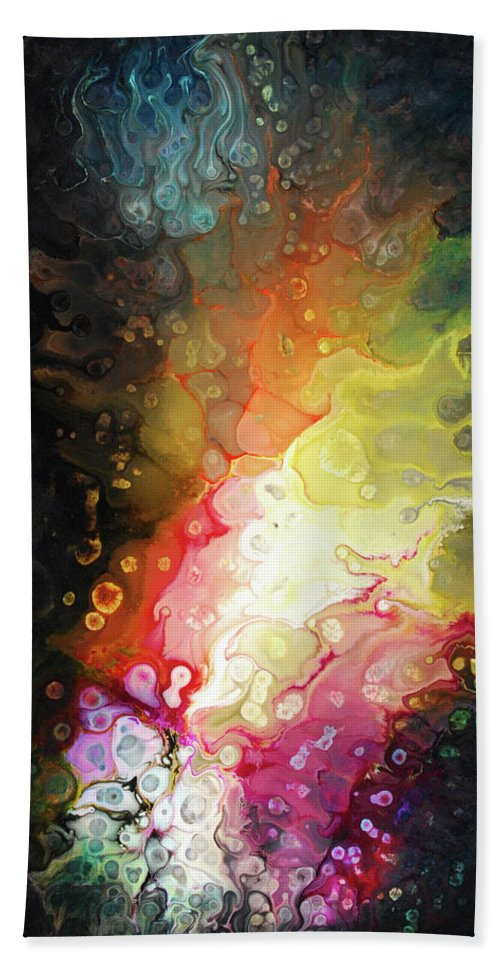Abstract Hand Towel featuring the painting Jeewanu by Dion Kurczek