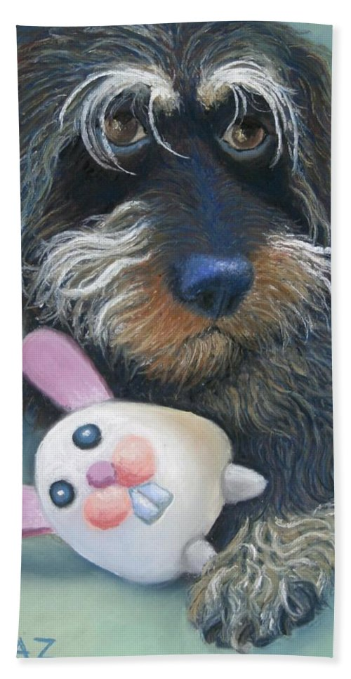 Dog Hand Towel featuring the painting Jeez Donot Touch Ma Squeez by Minaz Jantz