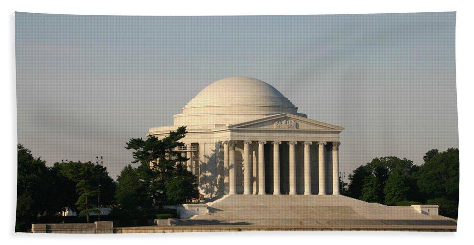 Bath Sheet featuring the photograph Jefferson Memorial by Darren Edwards