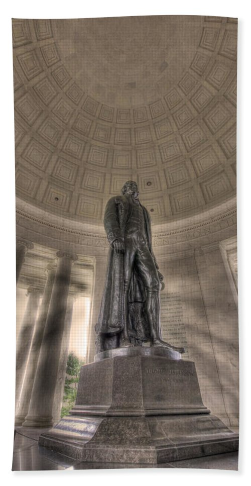 Sold Bath Sheet featuring the photograph Jefferson Memorial by Shelley Neff