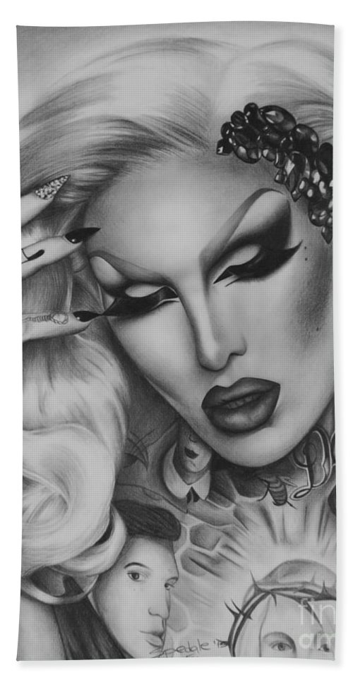 0522bdbe8 Jeffree Star Bath Towel featuring the drawing Jeffree Star by Elena Spedale
