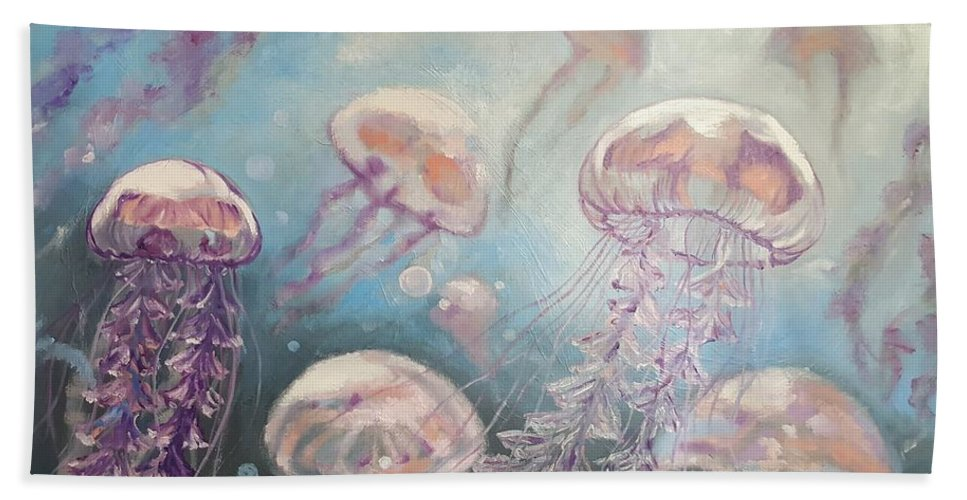 Medusa Bath Sheet featuring the painting Jelly-fish by Alyona Shostal