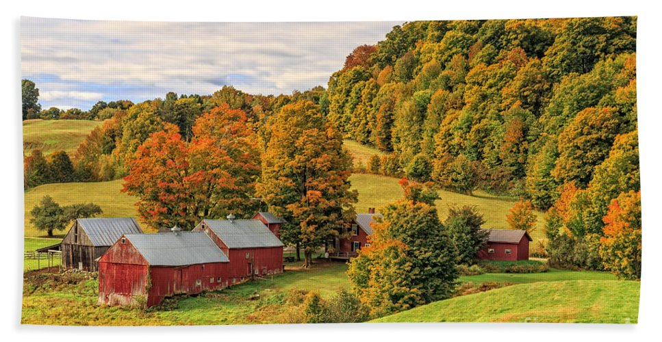Autumn Hand Towel featuring the photograph Jenne Farm Vermont Landscape Autumn by Edward Fielding