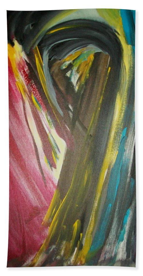 Black Bath Sheet featuring the painting Jennifer by Laurette Escobar