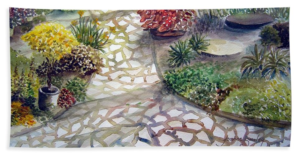 Garden Path Plants Hand Towel featuring the painting Jennifers Garden by Jo Smoley