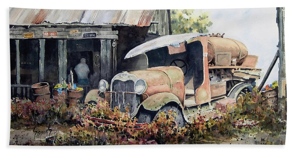 Truck Hand Towel featuring the painting Jeromes Tank Truck by Sam Sidders