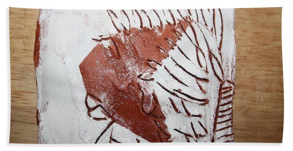 Jesus Bath Sheet featuring the ceramic art Jerry - Tile by Gloria Ssali