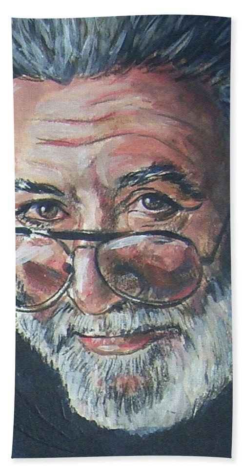 Jerry Garcia Hand Towel featuring the painting Jerry Garcia by Bryan Bustard