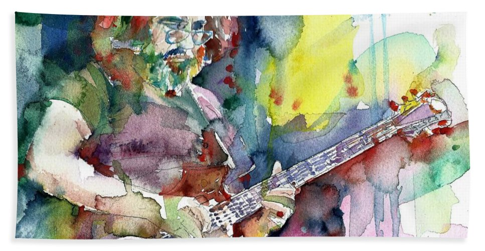 Jerry Garcia Bath Towel featuring the painting Jerry Garcia - Watercolor Portrait.16 by Fabrizio Cassetta