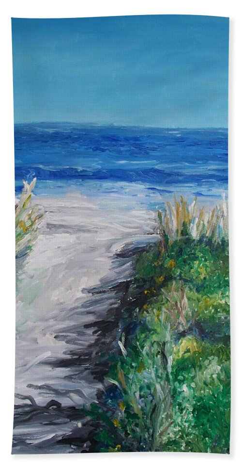 Jersey Shore Bath Sheet featuring the painting Jersey Shore Dunes by Eric Schiabor