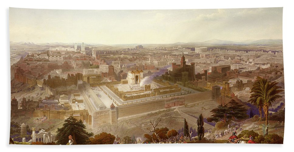 City; Palm Sunday; Entrance; Disciples; Temple; View; Landscape; Palestine Hand Towel featuring the painting Jerusalem In Her Grandeur by Henry Courtney Selous